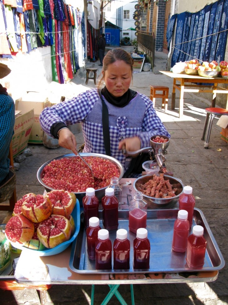 Pomegranate juice in Dali, China