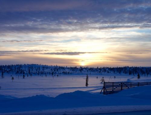 Auringonlasku Saariselällä