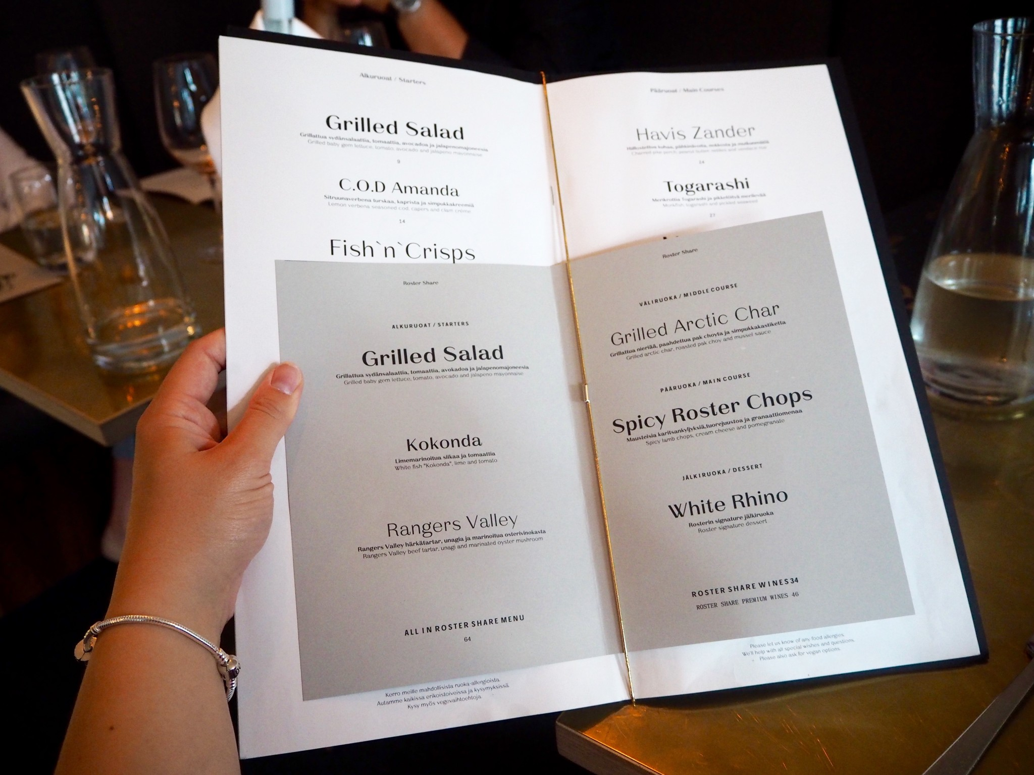 Ravintola Roster Helsinki menu