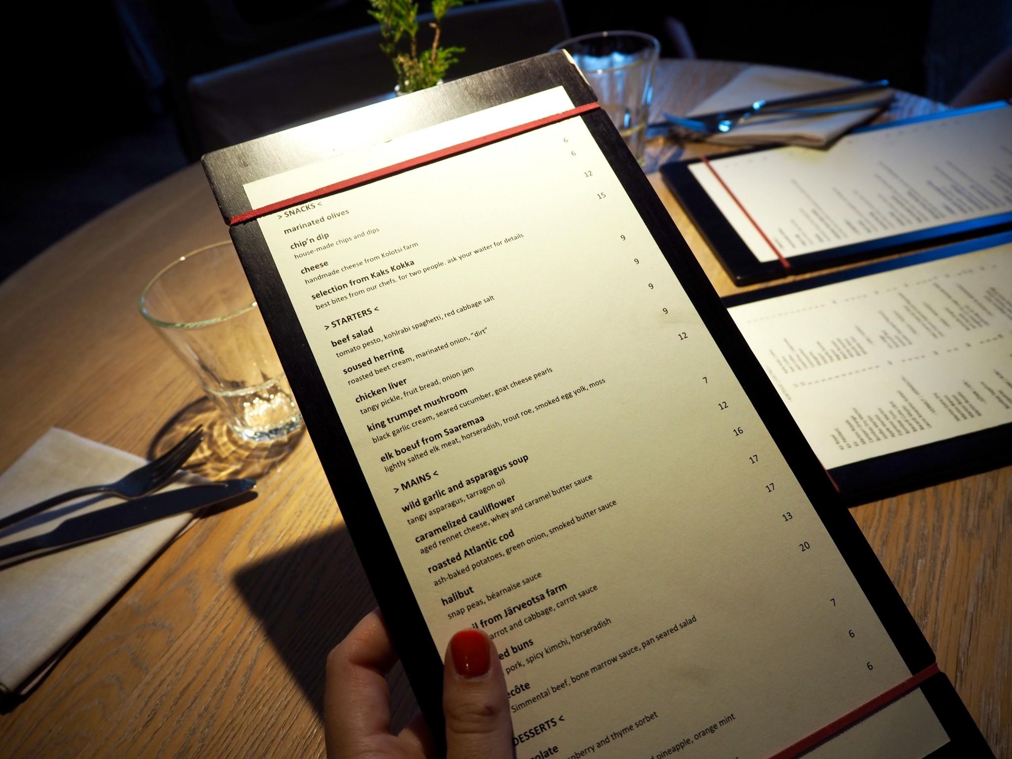 Tallinna ravintola Kaks Kokka menu