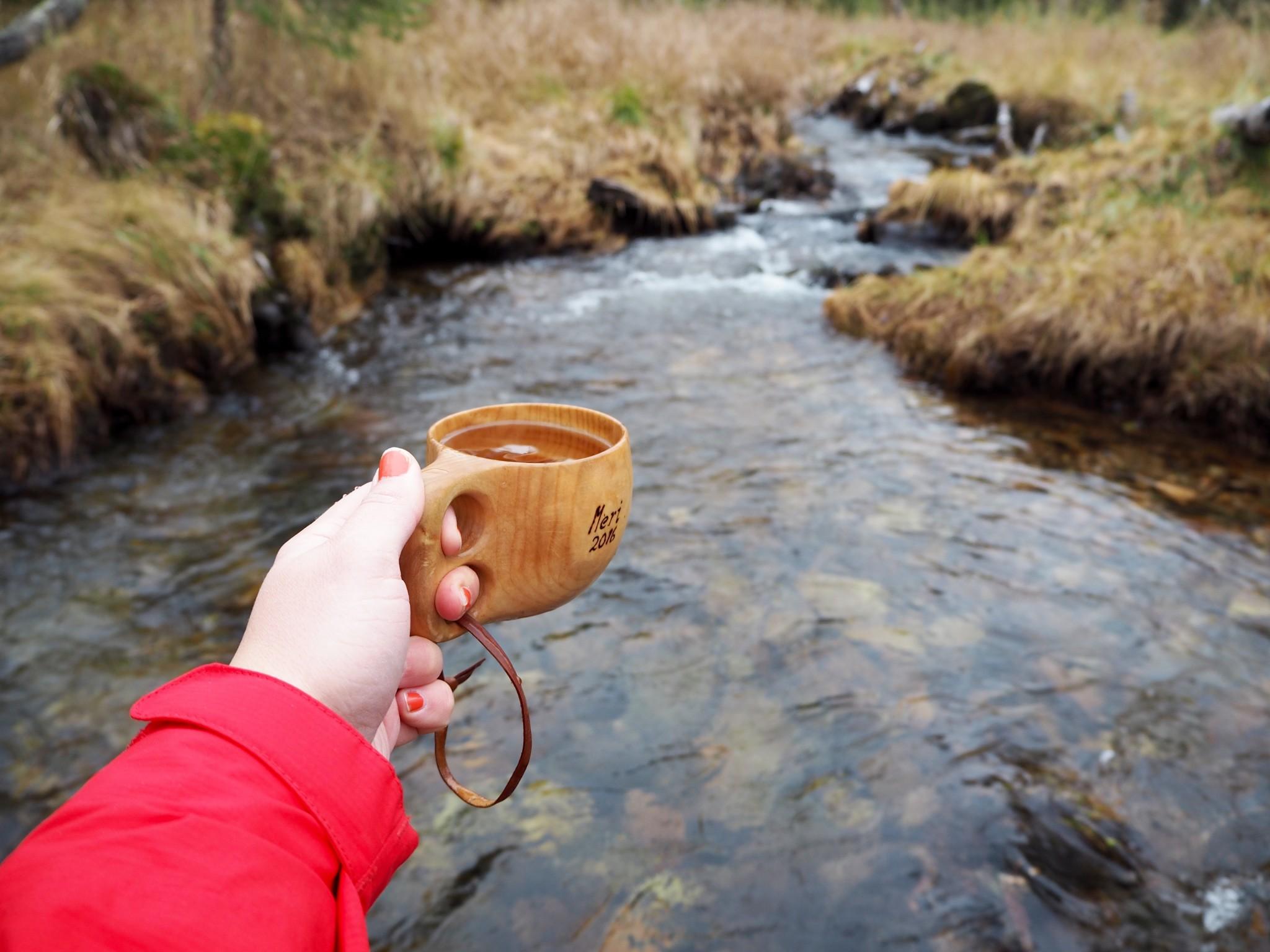 Enontekiö purosta juominen
