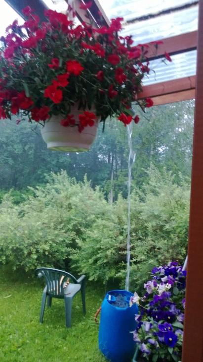 Terassilla voi istua kuivana sateellakin