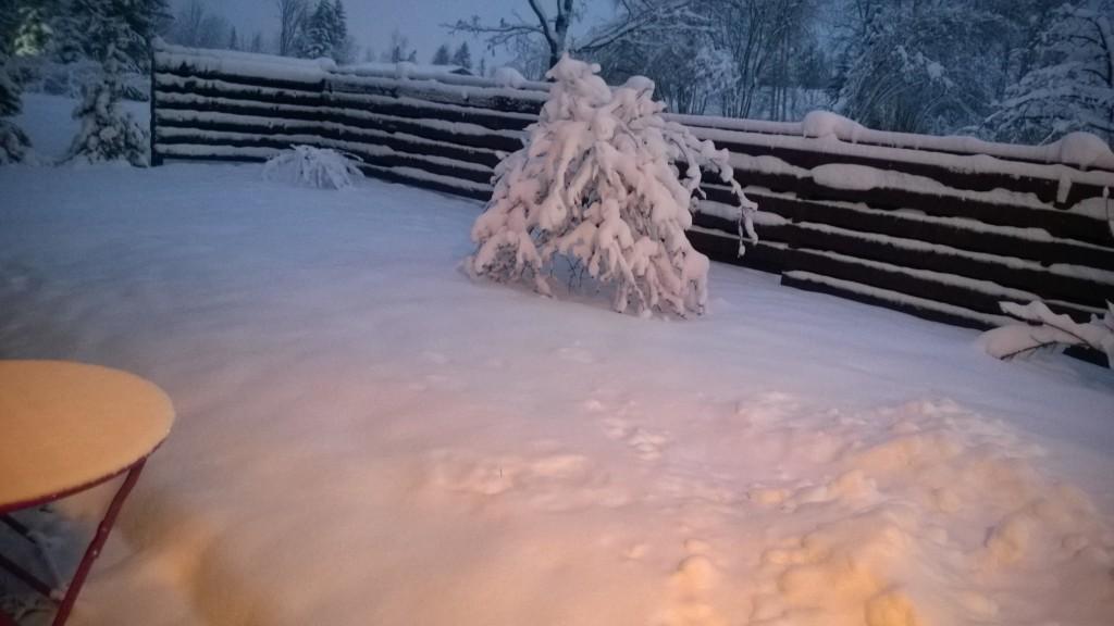pihassamme on lunta