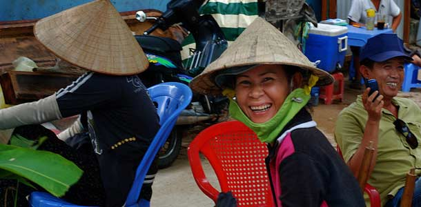 Ystävälliset paikalliset Vietnamissa