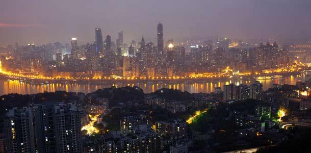 Chongqingin skyline illalla