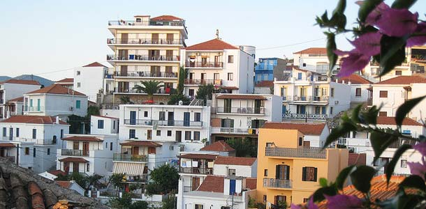 Skopeloksen kaupunkimaisemaa