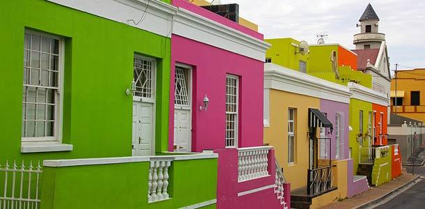 Värikkäitä taloja Kapkaupungissa