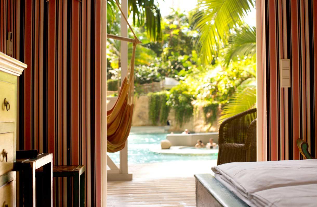 Tropical Islands tarjoaa hotellihuoneita.