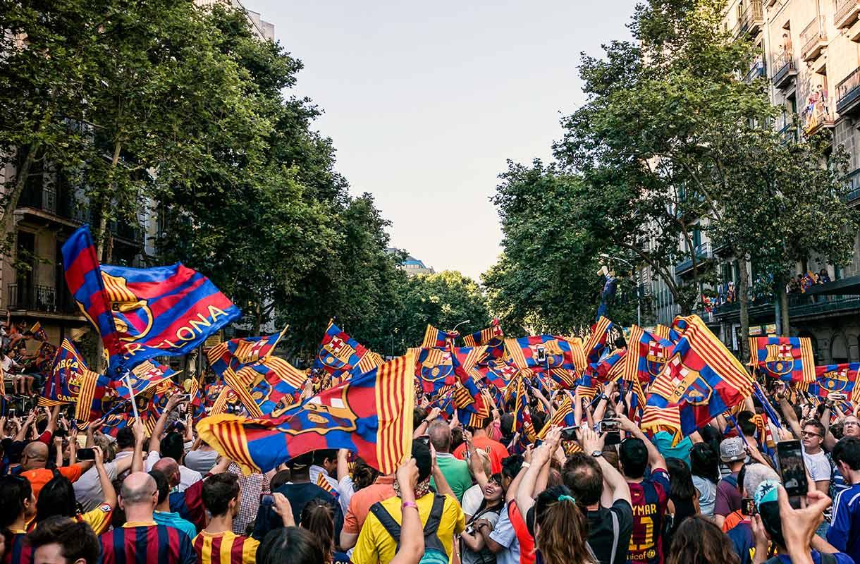 Jalkapallofaneja Barcelonassa