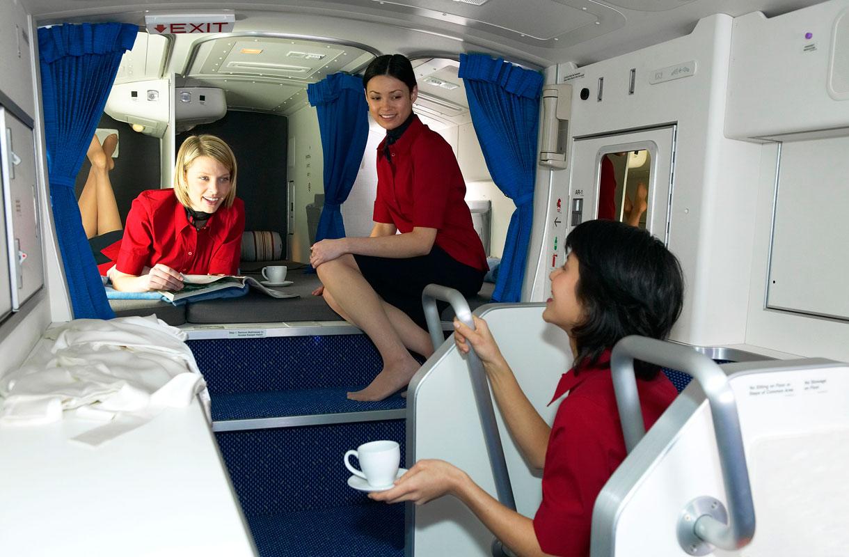 Matkustamohenkilökunnan lepotilat lentokoneessa